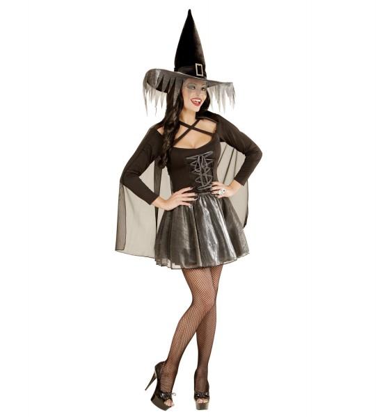 Silberne Glimmer Hexe Kleid mit Cape und Hut