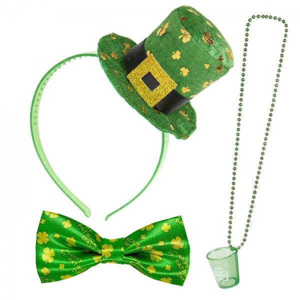 St Patricks Day Set 3 Haarreif Becher Fliege