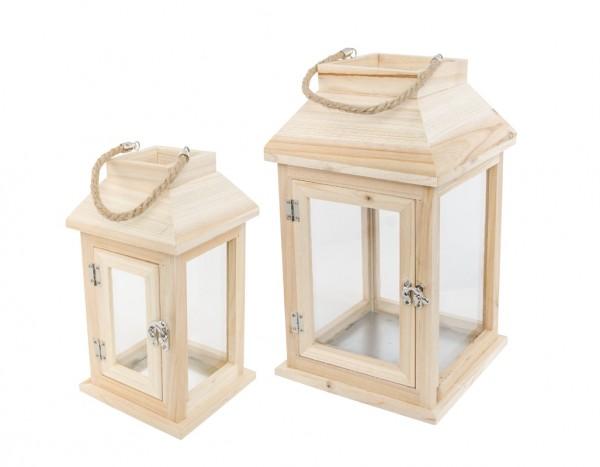 Holzlaternen Set 20x20x33cm/14x14x27cm