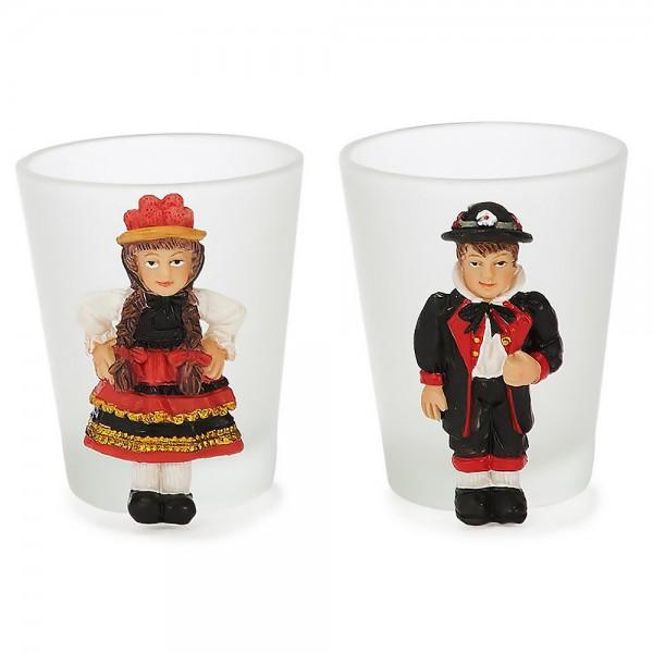 Kerzenhalter aus Glas mit Schwarzwaldfiguren 6cm
