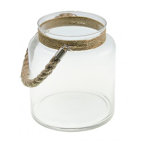Glas Laterne mit Kordel 17,7x20cm