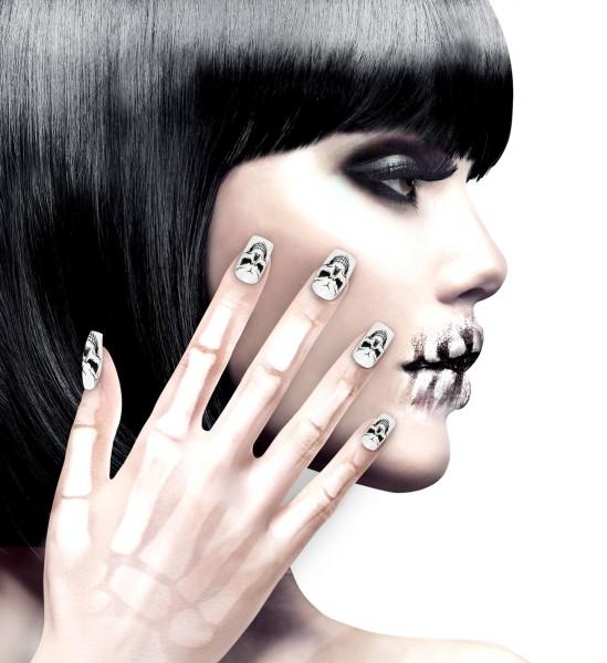 Set von 12 selbstklebende Fingernägel Totenköpfe