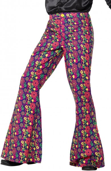 60s Psychedelic CND Flared Trousers Hippie Schlaghose bunt