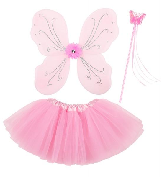 Magic Fairy rosa 3-tlg. Tütü, Flügel, Feenstab