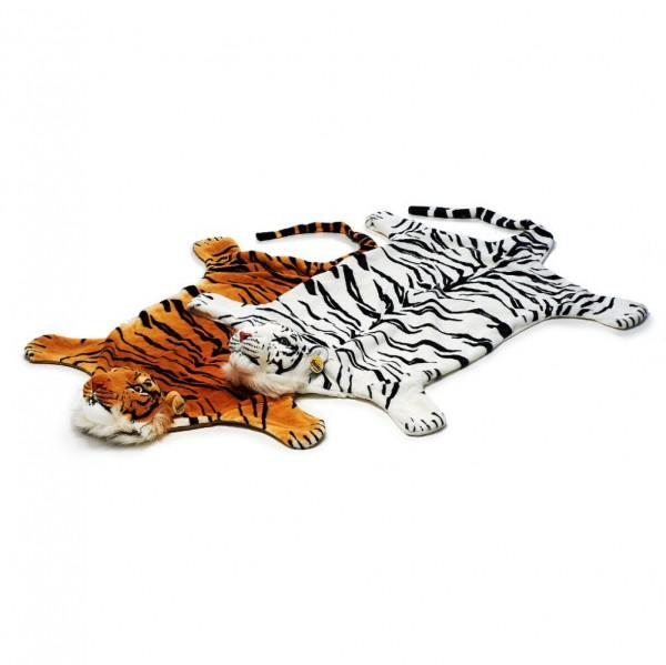 Vorleger Tiger aus Plüsch 110cm weiß