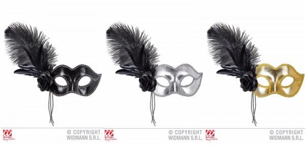Venezianische Augenmaske mit Feder und schwarzer Rose verschs. Farben Maske NEU