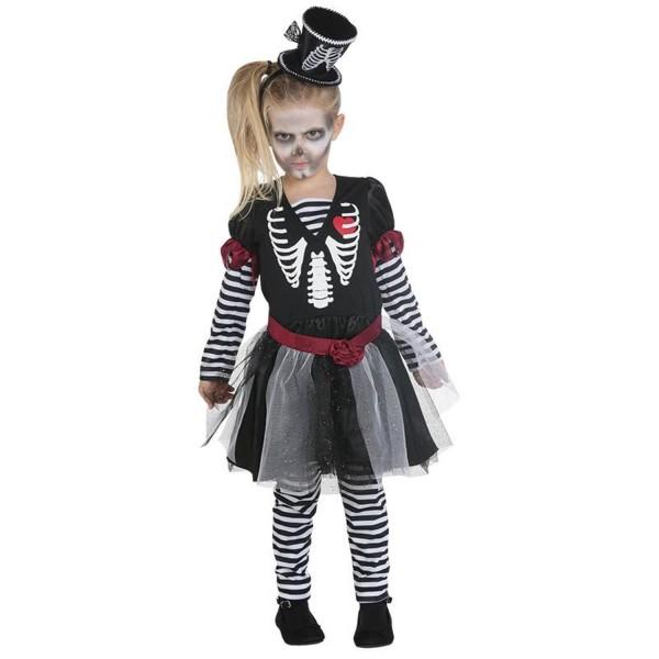 Skelettkleidchen 3-tlg. Kleid Gürtel Leggings