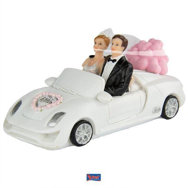 Hochzeitsfiguren in Cabriolet