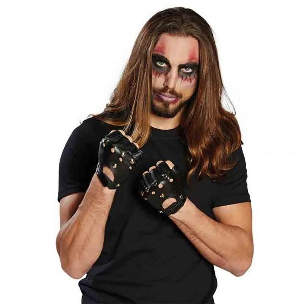 Punker Handschuhe mit Nieten fingerlos