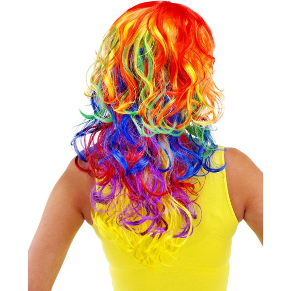 Perücke langhaar Rainbow Glam
