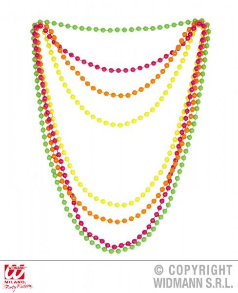 Neonfarbene Perlenkette 4er Set
