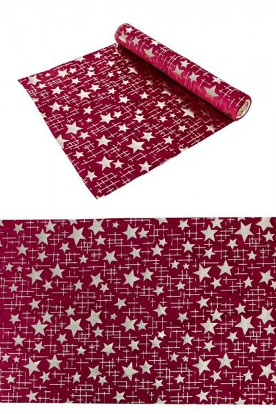Tischläufer rot Samt mit goldenen Sternen 28x300cm