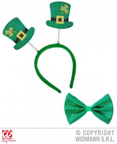 Set St. Patricks Day Haarreif mit Minizylinder Fliege aus glitzer