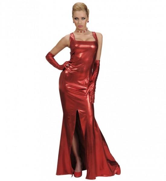 Gran Gala Kleid schwarz rot mit Handschuhen
