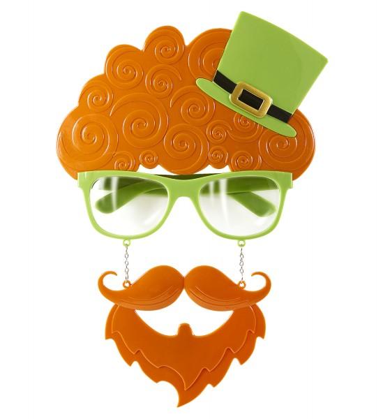 Brille St. Patricks Day Brille mit Schnauzbart