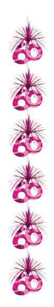 Girlande pink Kaskade 60 Geburtstag Hängedeko Party Dekoration Cascade