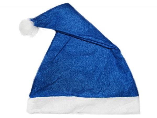 Weihnachtsmannmütze mit Bommel blau