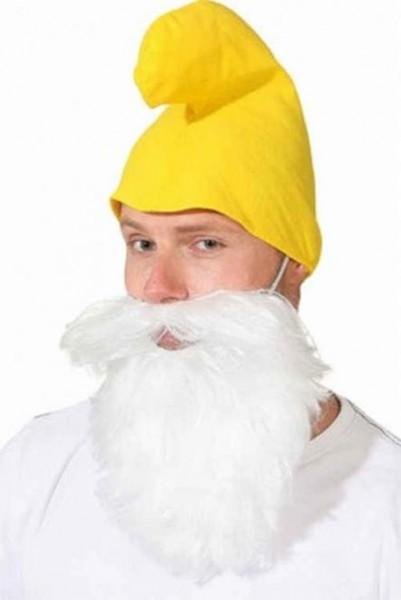 Zwergmütze mit Bart gelb Wichtel