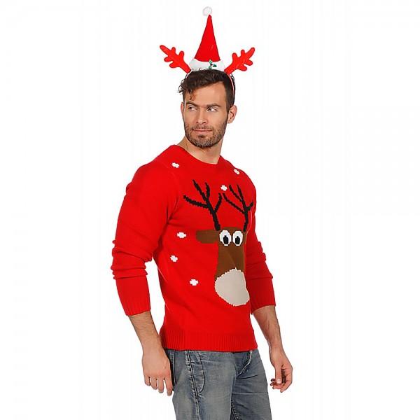 Weihnachtspulli rot mit Rentier