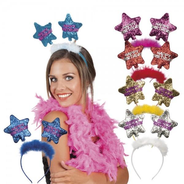 Haarreif Tiara Star Happy Birthday versch Farben