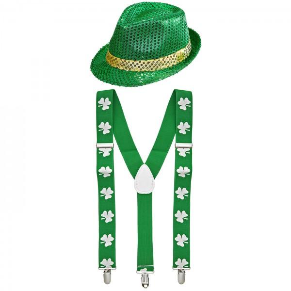 St Patricks Day Set 1 Hosenträger Hut