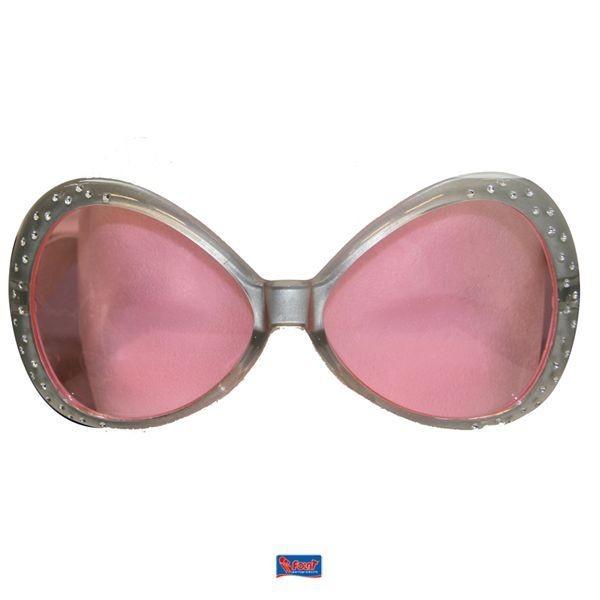 Brille silber mit Strass / rosa Gläser