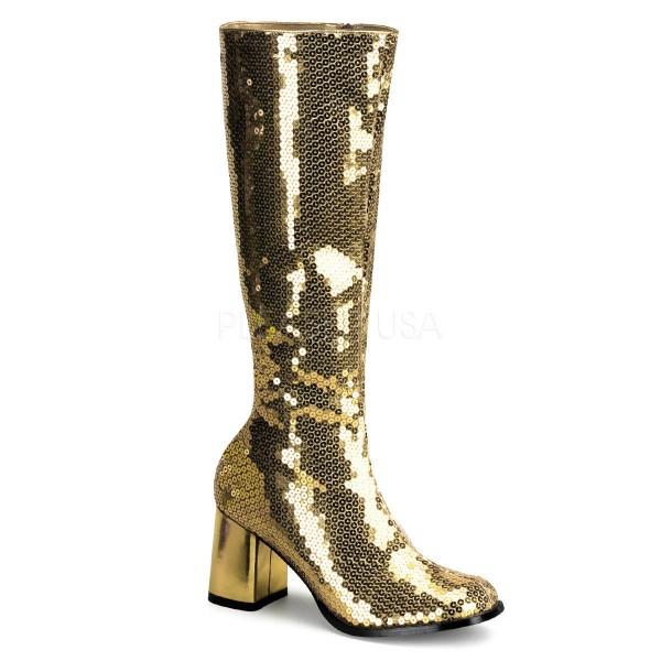 Stiefel Pailetten silber gold Glitzer Schuhe Kostümschuhe Damen 70er 80er Disco