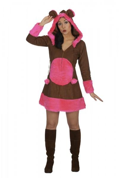 Bärchen Kleid mit Kapuze Frauen 1-tlg. braun pink