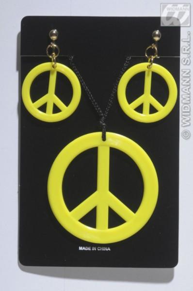 Peace Kette mit Ohrringen