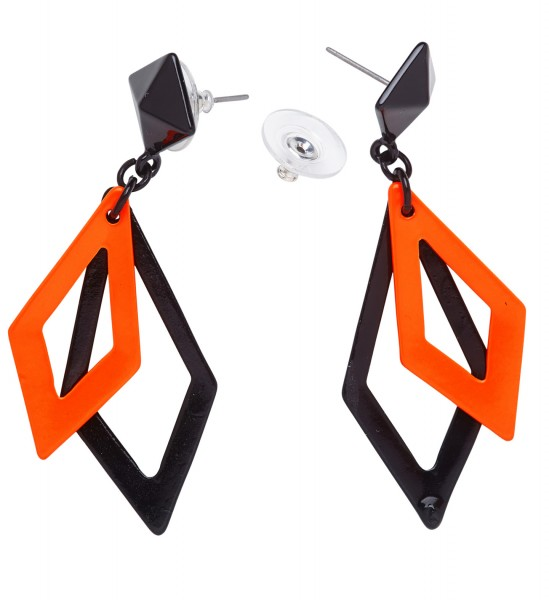 Ohrringe Rhombus schwarz orange 80er