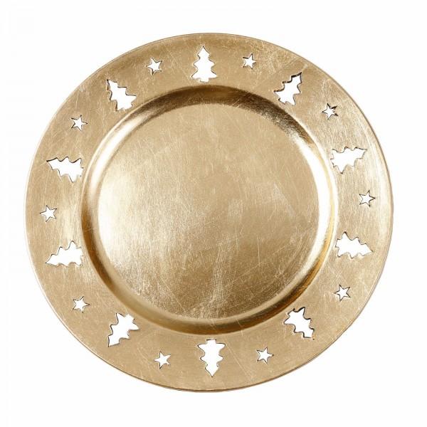 Kunststoff Dekoteller 33cm gold gestanzter Rand