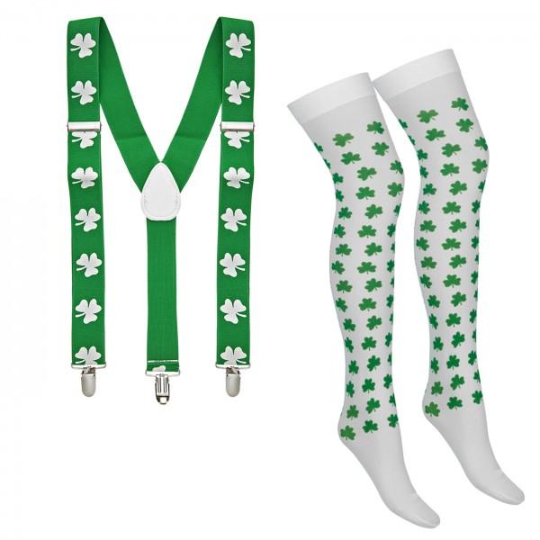 St Patricks Day Set 2 Overknees Hosenträger