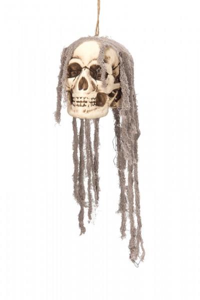 Deko Schädel zum aufhängen mit Haarnetz 17x14cm