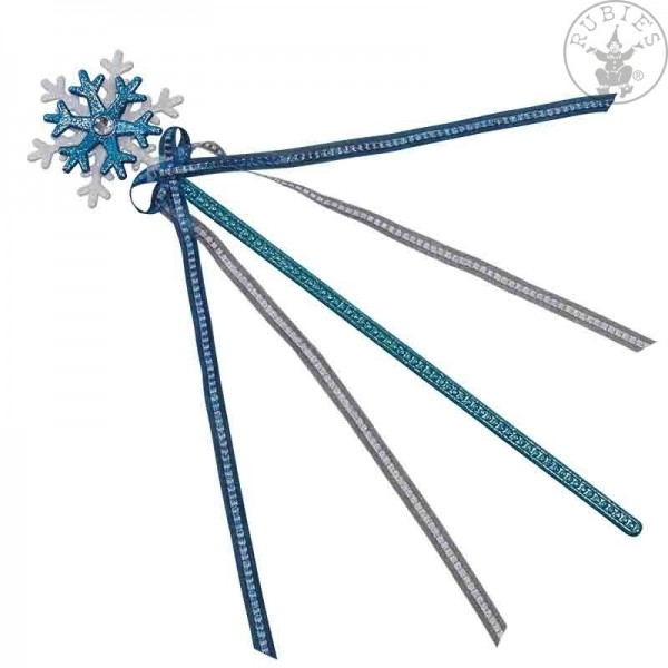 Glitzerstab Schneeflöckchen weiß-blau 38cm