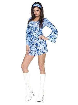 sexy Minikleid blau 70er Hippiekleid
