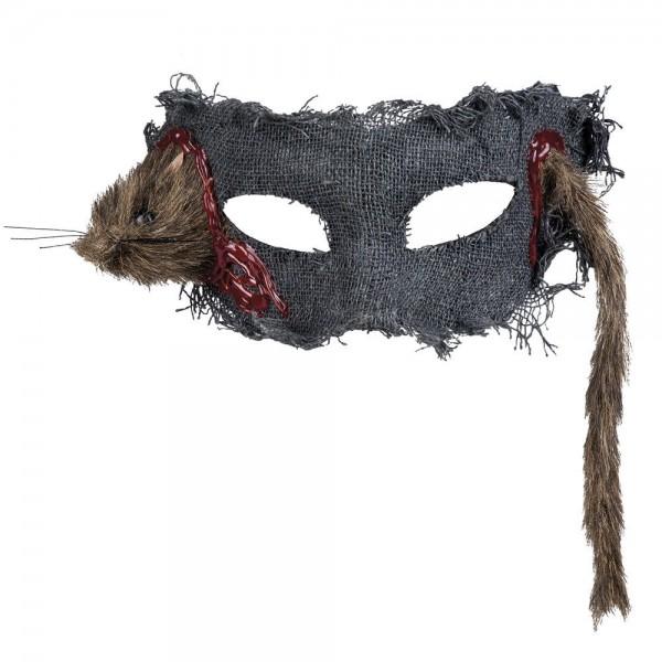Halloween Maske Augenmaske Hut Ratte im Kopf Halloweenhut Fetzen Netzartig NEU