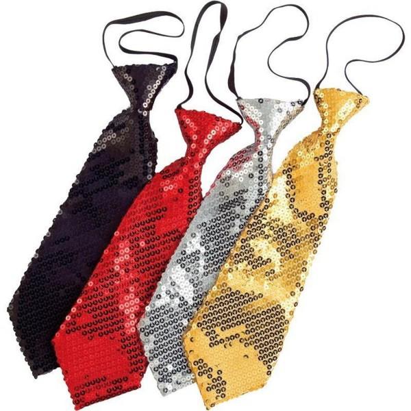 Pailletten Krawatte Gold Silber