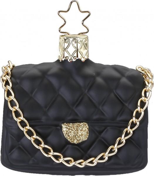Christbaumschmuck Handtasche schwarz matt 6cm