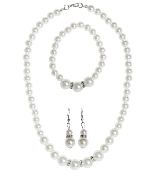 20er Perlenkette Armband und Ohrringe