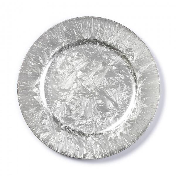Kunststoff Dekoteller 33cm Silber Eislack