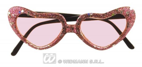 Glitzer Herz Brille in vers. Farben