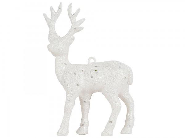 Rentier Kunststoff 13cm weiß