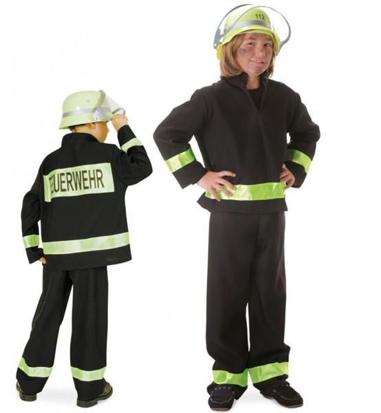 Feuerwehrmann 2-tlg. schwarz Kind