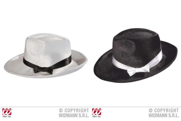 Gangsterhut aus Samt mit Satinband schwarz weiß Kostüm Fasching Karneval Hut