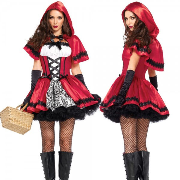 Gothic Red Riding Hood Kostüm rot weiß