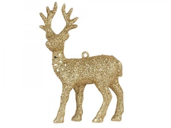 Rentier Kunststoff 13cm gold