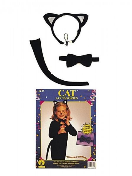 Kätzchen Set für Kinder 3-tlg schwarz