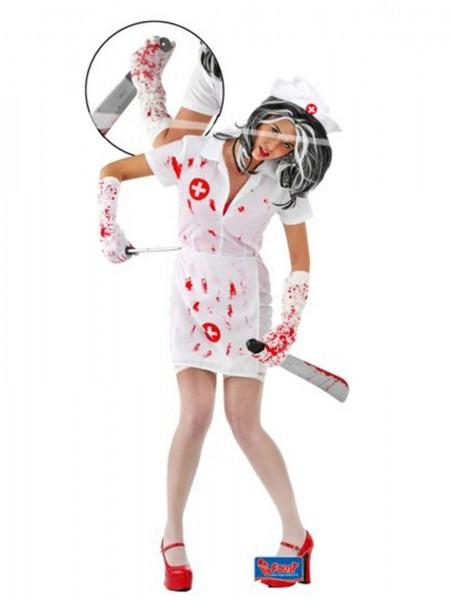 Zombie Krankenschwester 4-tlg. Kleid Halloween Damenkostüm Horror Damen Kostüm