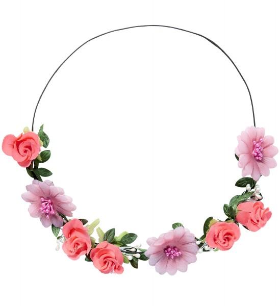 Stirnband mit rosa Blumen und neon