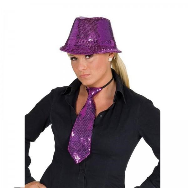 Pailletten Krawatte lila